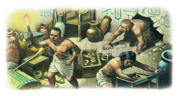 ILLUSTRATION-TOMB ROBBERS LOOTING EGYPTIAN TOMB